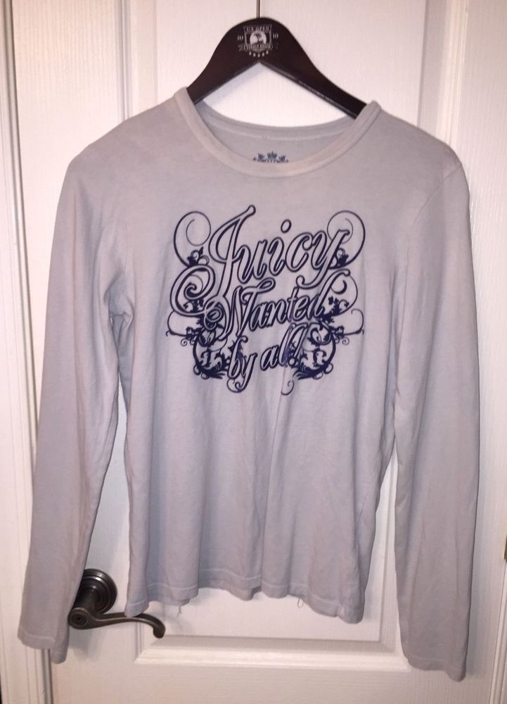 Juicy Couture Blue Rare Wanted By All Velour Long Sleeve T-shirt Top  Women s L  JuicyCouture  Blouse  Casual 99e1e72db07e