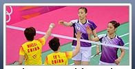 401c: This photo shows badminton players in the Olympics. It is difficult to figure out what the story is by looking at the picture. From what we can see, the photo was taken during a badminton match. Both teams take up an equal amount of space in the photo. We can only tell that the players in yellow are from China and cannot clearly see the nationality of the players in purple.
