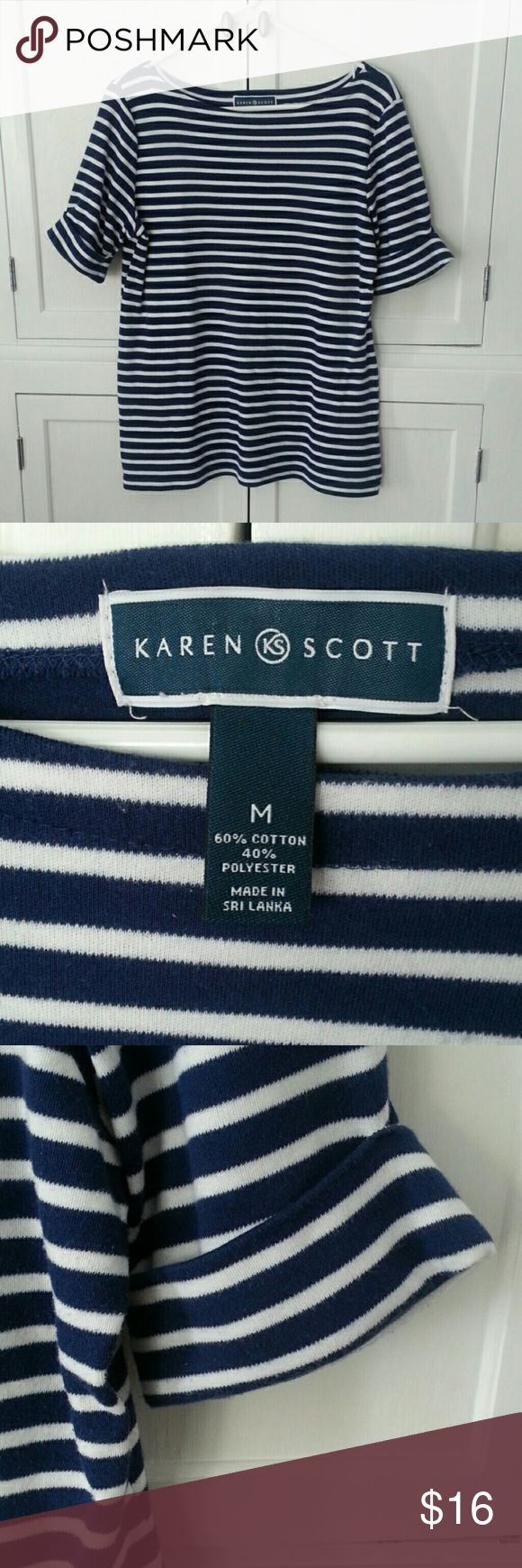 "KAREN SCOTT navy/white NAUTICAL top Navy & white stripe. Cuffed sleeves. Small side slits. Cotton/poly blend. 19"" pit to pit 25"" shoulder to hem.  VERY NAUTICAL!  GREAT CONDITION! Karen Scott Tops Tees - Short Sleeve"