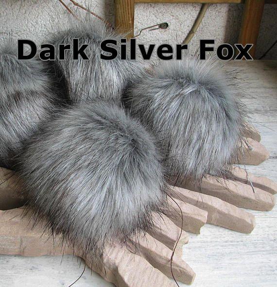 Dark Grey Pom pom   Very Soft Silver Faux Fur Pompom Fot Hats