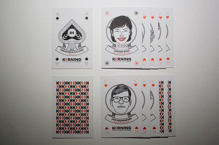 KERNING 2014: badges for the conference day, designed like playing cards. Cover & back. Printed by MOO on Luxe paper.