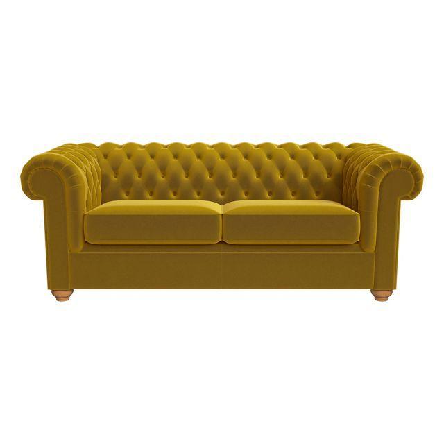 3 seater velvet 'Chesterfield' sofa bed