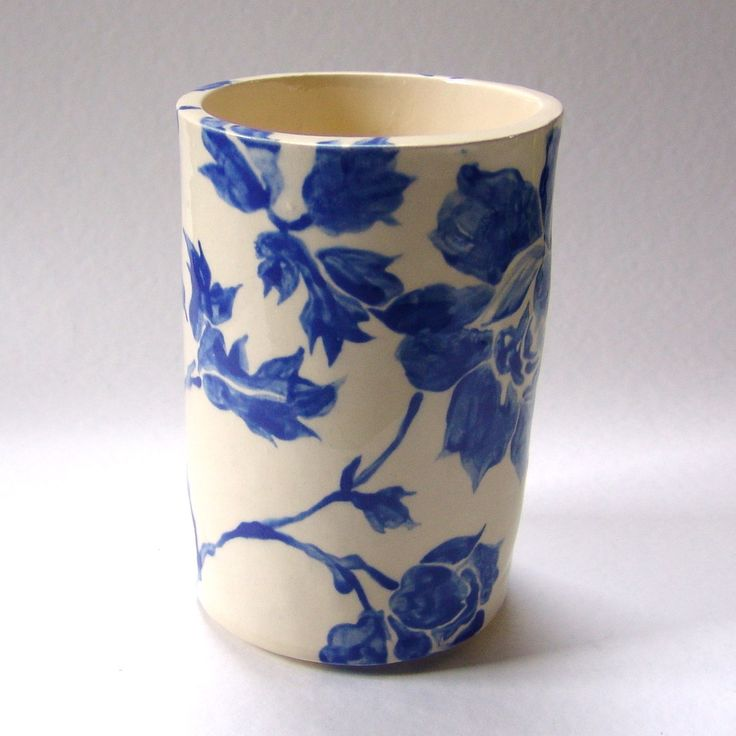 Delft Blue Floral Pottery Kitchen Utensil Holder Home