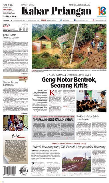 Layout Kabar Priangan Halaman Utama, Selasa 7 Maret 2017 | LAYOUT KABAR PRIANGAN