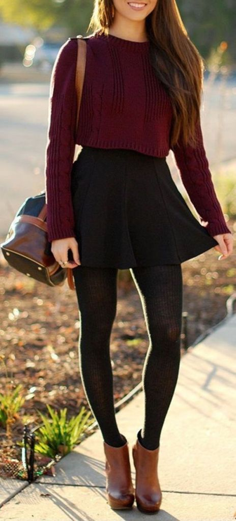 #fall #outfits / burgundy knit + skirt