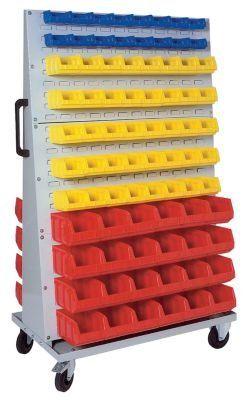 Rayonnage mobile pour bacs à bec - h x l x p 1700 x 1053 x 600 mm gris clair RAL 7035 - bac à bec bacs bacs à bec boîte de stockage à bec boîtes à bec caisse de stockage à bec caisses de stockage à bec conteneurs à bec rayonnage rayonnages Armoire à bacs