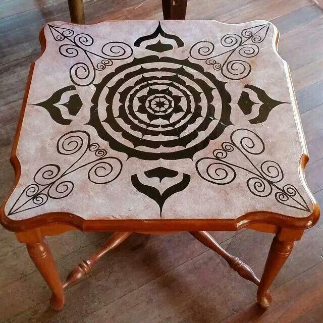 Painted table! Mandala using acrylics  in black and white. Manifesting Mandalas #manifestingmandalas #mandala #100mandalas #inkwork #Adelaide #sjm