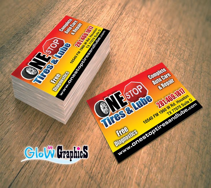 21 best business cards images on pinterest business cards carte one stop tire and lube houston tx houston tx glow in business card reheart Image collections