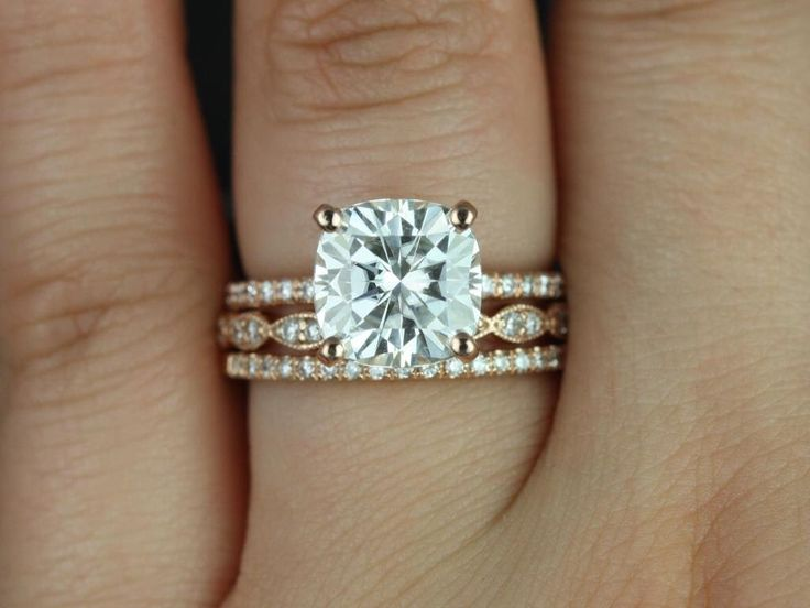 Heidi 9mm & Christie 14kt Rose Gold Cushion FB Moissanite and Diamond Basket TRIO Wedding Set (Other metals and stones available) by RosadosBox on Etsy https://www.etsy.com/listing/208184428/heidi-9mm-christie-14kt-rose-gold