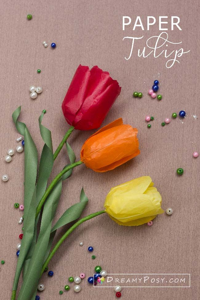 Tissue Paper Tulip Tutorial And Free Template Paperflowers Flowertutorial Flowertempla Tissue Paper Flowers Easy Tissue Paper Flowers Diy Easy Paper Flowers