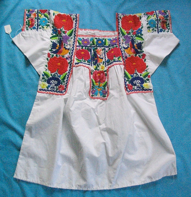 "Nahua blouse from Chilac Mexico    Embroidered blouse from Nahua region of San Gabriel Chilac, Puebla. Often a part of the ""China Poblana"" dance costume."