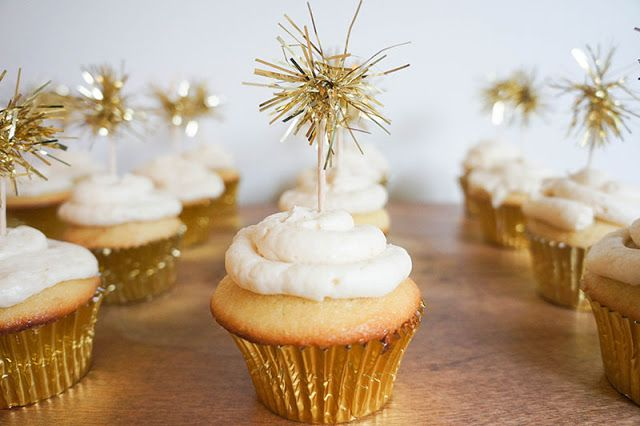 Colette's Gold and White First Birthday Party by Oakland Avenue Gold Sparkler (tinsel) cupcake toppers