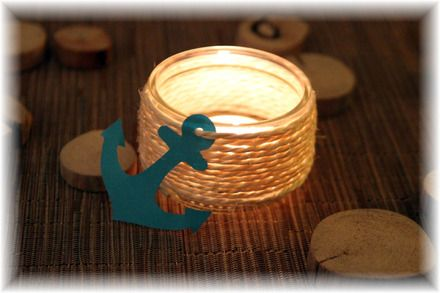 Photophore verre et ficelle ~ Décoration thème marin ~ Communion, baptême, anniversaire, mariage  : Luminaires par declic-deco