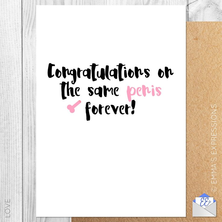 CONGRATULATIONS ON THE SAME PENIS FOREVER / FUNNY RUDE ENGAGEMENT GREETING CARD