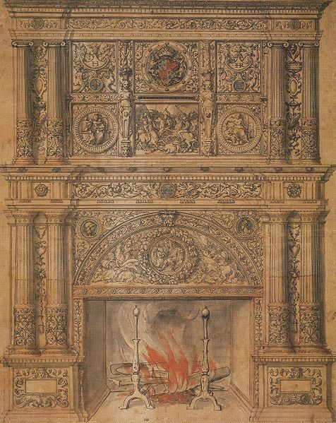 Design for a chimney-piece, c. 1540 | Throughout his career Holbein produced designs for furniture, plate, jewellery, clocks, & other luxury goods but this design is the only evidence that he made architectural designs in England, & the coat of arms indicates that it was for Henry VIII. His design incorporates battle scenes & roundels of blind Justice on the right & Charity on the left & Esther before Ahasuerus below. It is suggested that the piece was for the fireplace in Whitehall Palace.