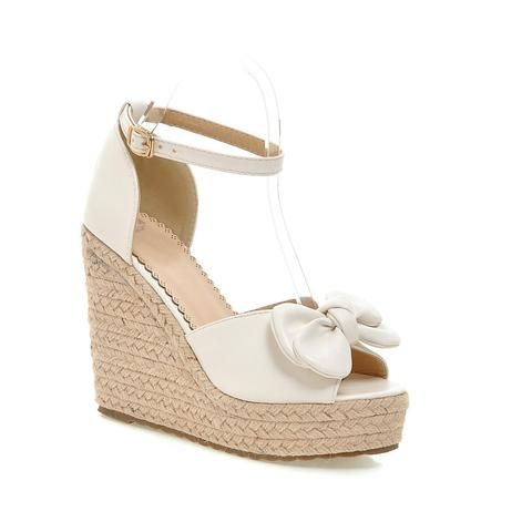 04439df839f Bow Woven Wedges Sandals Pumps Platform High-heeled Shoes Woman in ...