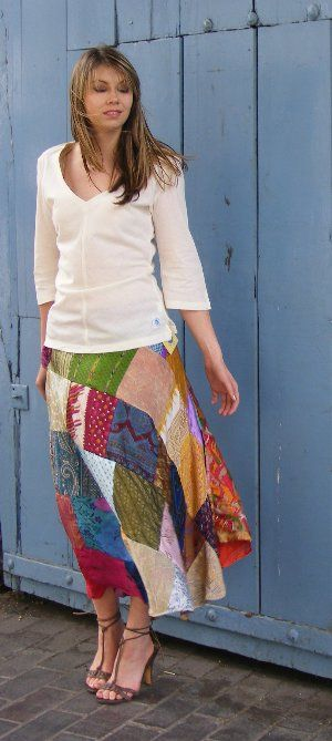 Our best selling Vintage Silk Sari Patchwork Wrap Skirt £24