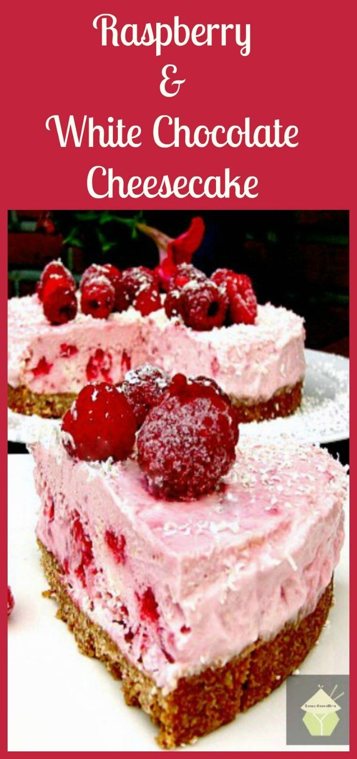 Raspberry and White Chocolate Cheesecake - A refreshing No Bake Cheesecake with a gentle hint of white chocolate. Really delicious!<br /><br />