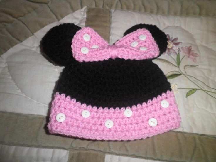 Free Crochet Pattern For Child s Minnie Mouse Hat : Pin by Mary Krug on Crochet Baby & Toddler Hats ...