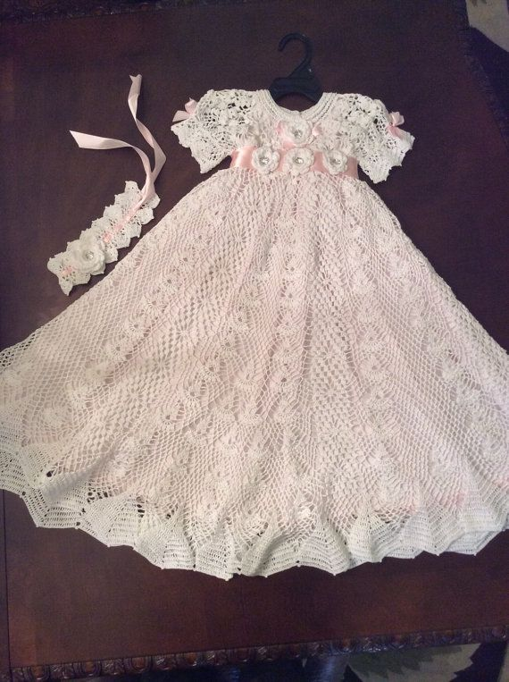 Hand crochet heirloom christening gown blessing by EmporiumHouse