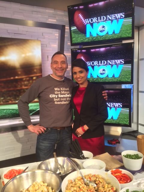 Do you need some fantastic food ideas for the Super Bowl? Tune in to World News Now on ABC or simply set your DVR to ABC (channel 7) between 2:30 am - 5:00 am. Late night tonight, right after Eyewitness News.   Chef Guerrieri and Reena Ninan have your appetites covered. Prosciutto and Mozzarella wrapped hot dogs, Italian inspired tacos and a sandwich that's going to rock every ones world...and ladies, shhh, don't tell the boys the sauce is made of yogurt. They'll never know!