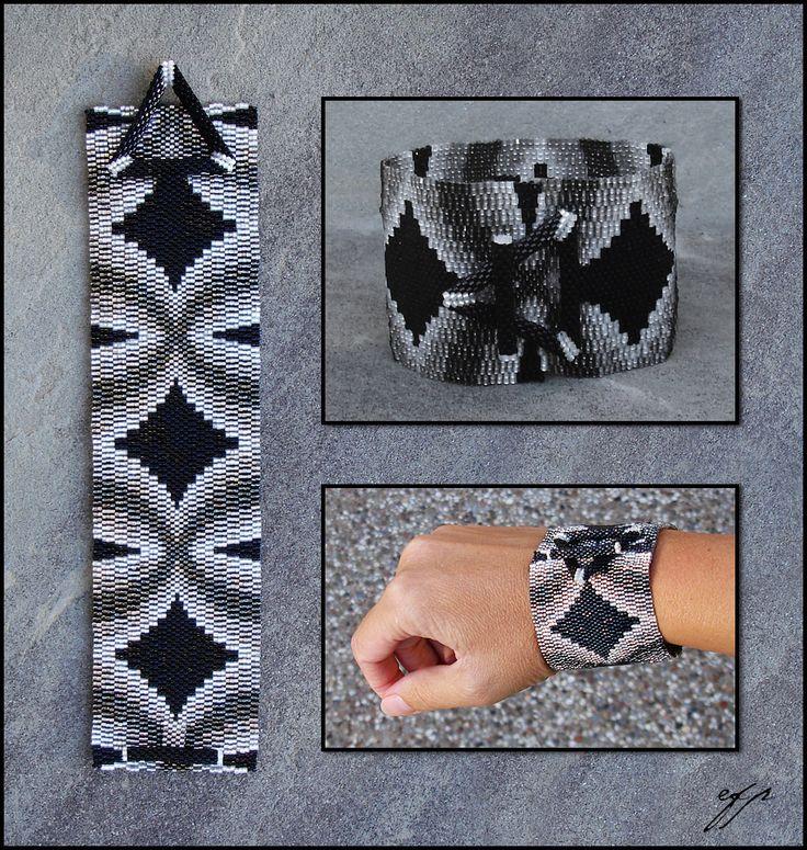 X Marks the Spot, peyote stitch bracelet pattern