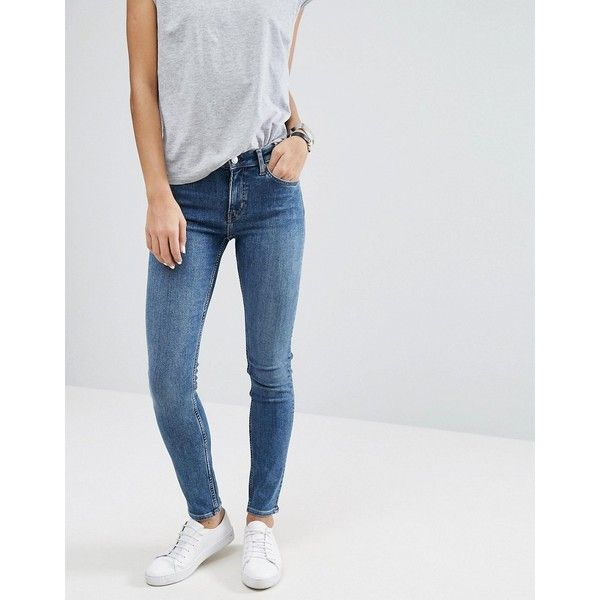 Weekday Tuesday Mid Rise Slim Leg Jean (940 MXN) ❤ liked on Polyvore featuring jeans, blue, slim blue jeans, tall jeans, slim fit skinny jeans, slim cut jeans and skinny leg jeans