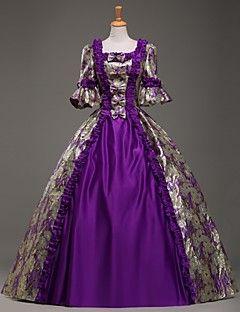 vendita steampunk®top viola maniche lunghe vestito vittoriano partito reale stile scuola lunghi abiti da ballo