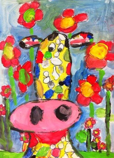 Tekenmaar kinderen: koe geschilderd met plakkaatverf