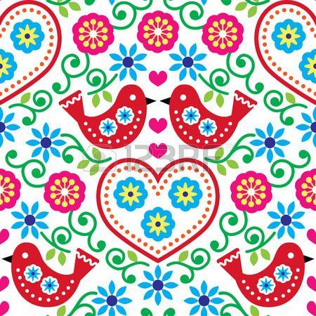 Volkskunst nahtlose Muster mit Blumen und V geln Lizenzfreie Bilder