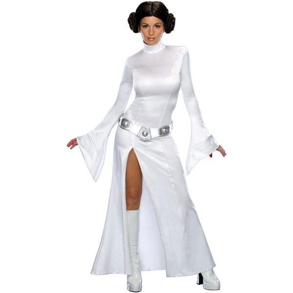 Star Wars Sexy Princess Leia Adult Costume ($55) ❤ liked on Polyvore featuring costumes, halloween costumes, sexy costumes, sexy halloween costumes, adult halloween costumes, sexy star wars costumes and storm trooper costume