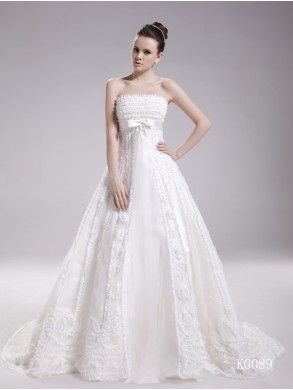 Gorgeous A-Line Strapless Organza and Lace with Bow Chapel Train Wedding Dress WAL07241-QS