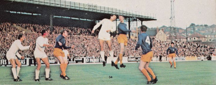 7th August 1968. Jack Charlton clearing his line during the 1st Leg of the Fairs Cup, against Ferencvaros.
