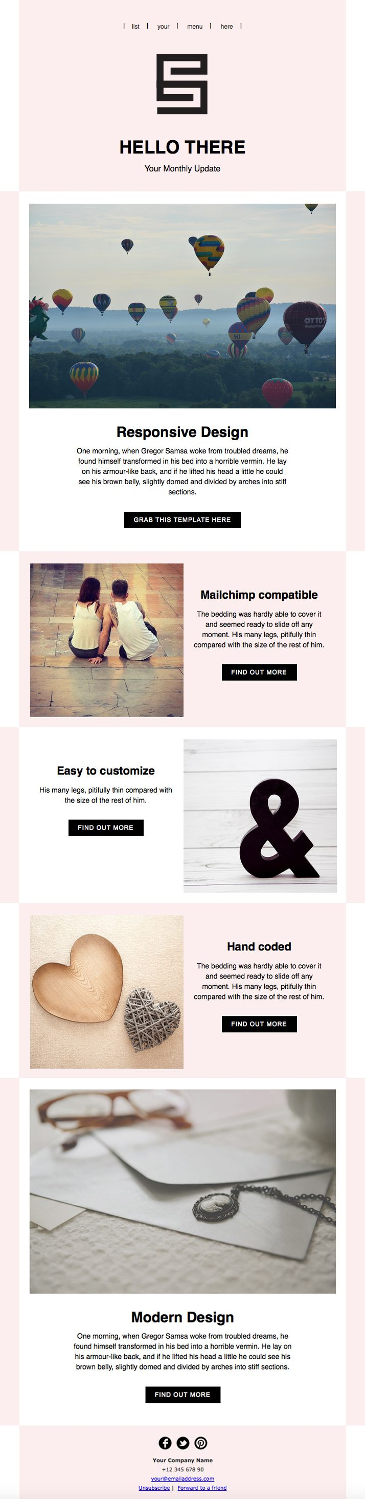 Responsive Email Newsletter Template. HTML coded, Mailchimp compatible, fully customizable.