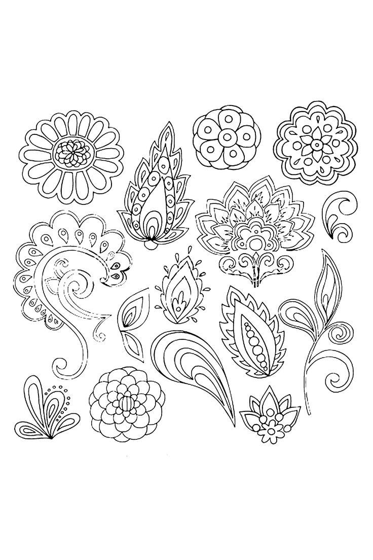 Abstract Henna Mehndi Vines And Flowers Paisley Style Doodle Tattoo
