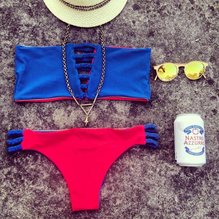 Calliope 3 color bandau bikini with brazilian bottom and braided details. A stylish and confrotable bikini, the perfect bikini for the beach!