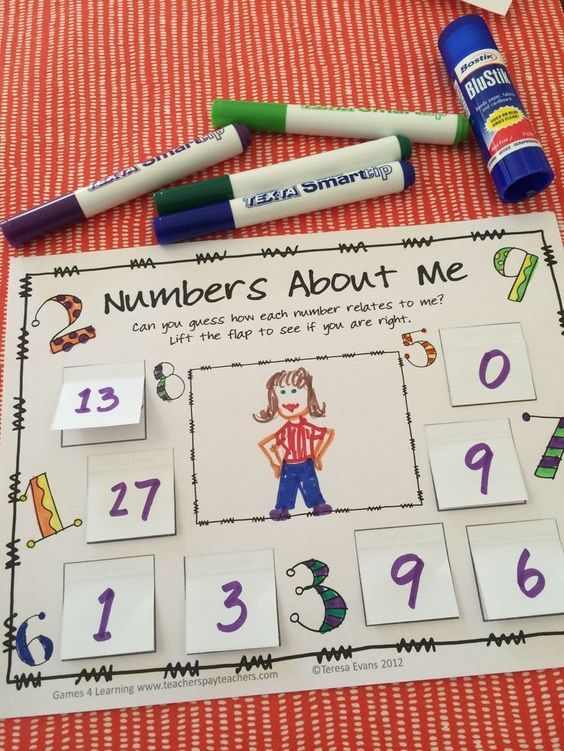 Back to School Math idea - Make a Numbers About Me Poster which is also a number puzzle! From Back to School Math About Me by Games 4 Learning $