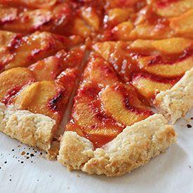 Peach Crostata ~ flaky buttermilk pastry plus sliced peaches glistening with jam.
