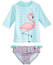 Carter's 2-Pc. Flamingo Rashguard Swimsuit, Toddler & Little Girls (2T-6X)