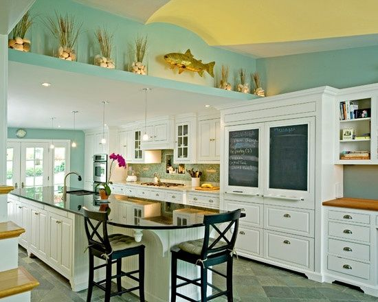 Layout idea, love the...Seaglass Green Painted Walls Kitchen and White.   Lots of light!