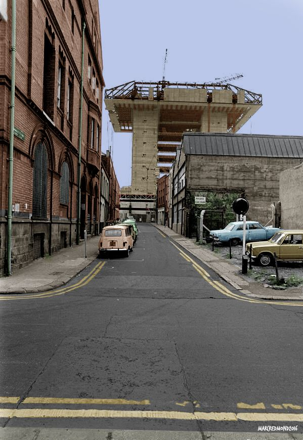 Colourising History - Crown Alley, Temple Bar, Dublin city centre, Ireland.  circa 1976 with central Bank under construction.