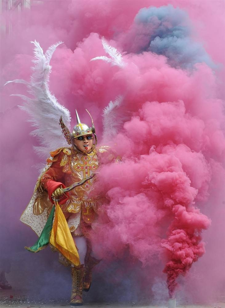 A member of La Diablada (Dance of the Devils) dance troupe takes part in the Carnival of Oruro in the mining town of Oruro, Bolivia, Feb. 9.