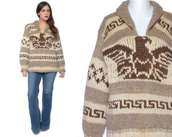 Cowichan Sweater THUNDERBIRD 70s Authentic by GravelGhostVintage