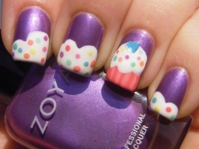 Cute cupcake nails! Noms! Get your own with this video tutorial!  (via we heart it): Nailart, Cupcakes, Nail Designs, Cupcake Nails, Makeup, Purple Cupcake, Nail Art