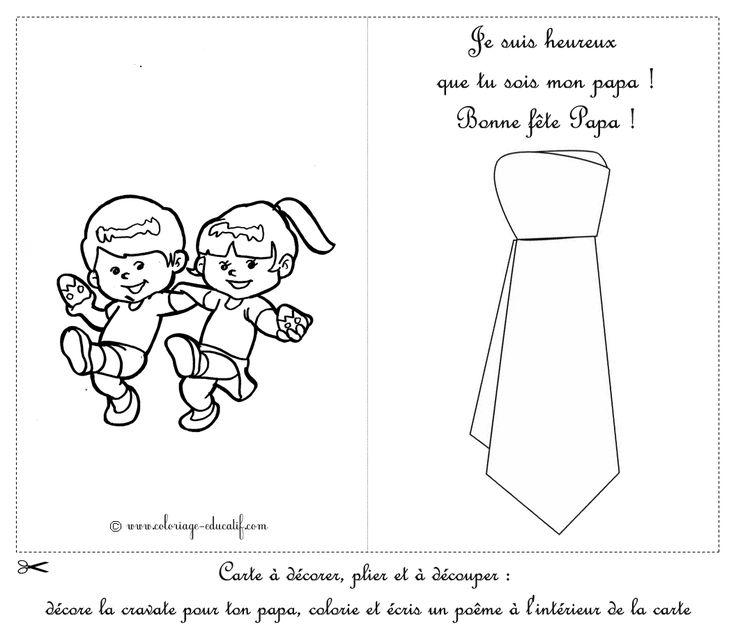 Coloriage educatif - Cartes à découper fête des papa/carte avec deux enfants qui dansent et une cravate