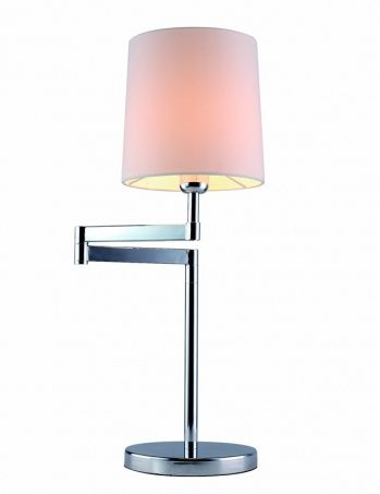 1-light table lamp, polished chrome with white shade