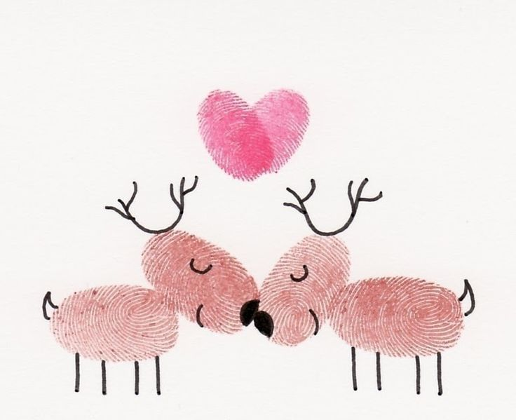 Kissing Reindeer Card  Thumbelina Card Company  has the sweetest greeting cards.  Each card is a little original piece of artwork using thu...