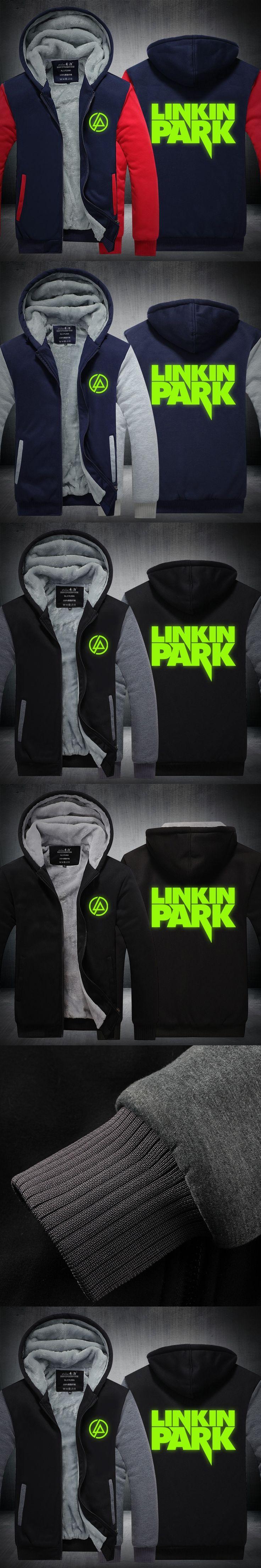 Autumn and Winter Linkin Park Luminous Rock Band Zipper Male Cardigan Hoodies Cashmere Sweatshirts Thicken Coat Leisure Jacket