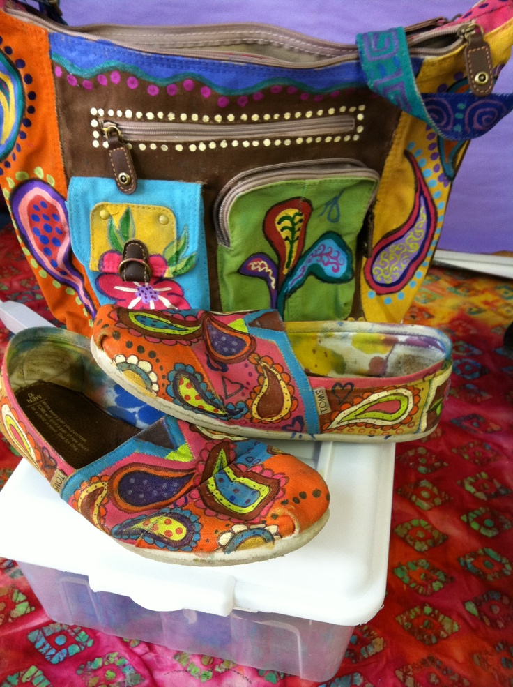 Hand painted purse. Matches my hand painted toms Check out more ...