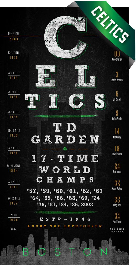 Boston Celtics 17-time World Champs Art Print - Retro Eye Chart - Perfect Birthday or Anniversary Gift - Unframed Print